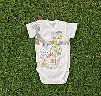 Бодик для новорожденных 100% хлопок (рибана) 56, 62, 68, 74 р-р, молочный, фото 1