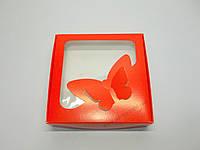 """Картонная коробка для капкейков на 4 шт с прозрачным окном """"Эконом бабочки красные"""""""