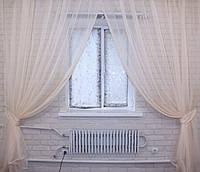 Комплект декоративных штор из шифона, цвет бежевый. 006дк