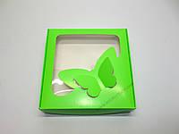 """Картонная коробка для капкейков на 4 шт с прозрачным окном """"Эконом бабочки салатовые"""""""