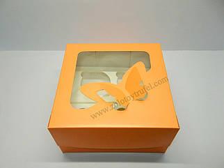 """Картонная коробка для капкейков на 4 шт с прозрачным окном """"Эконом бабочки персиковые"""""""