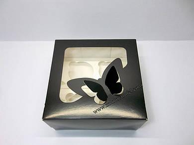 """Картонная коробка для капкейков на 4 шт с прозрачным окном """"Эконом бабочки черные"""""""