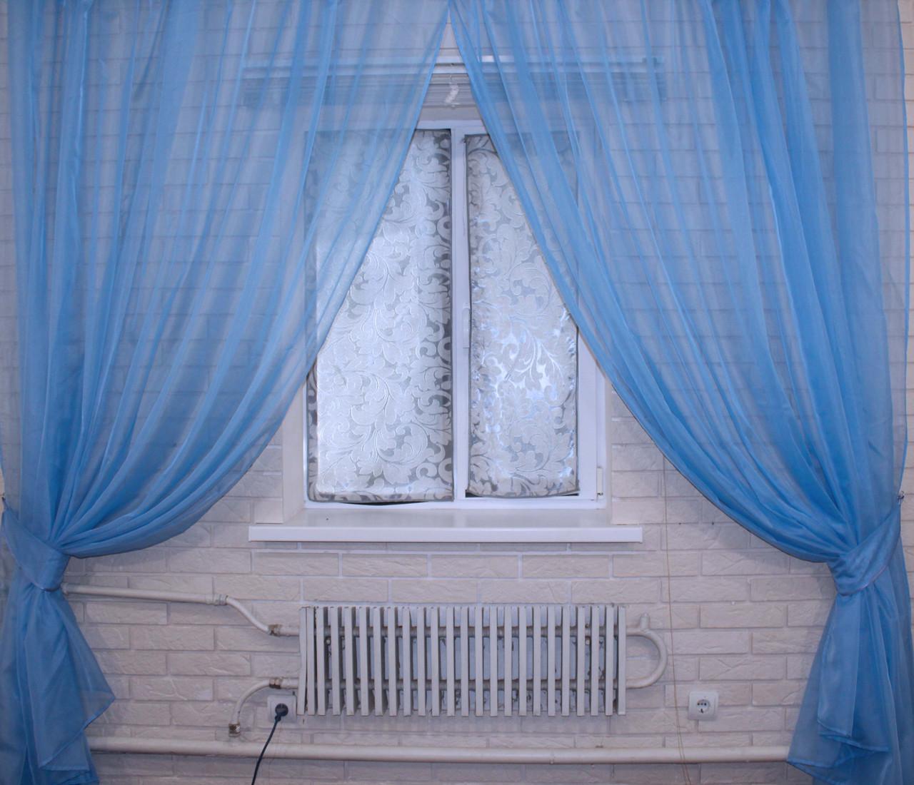 Комплект декоративных штор из шифона, цвет голубой. 006дк, фото 1
