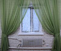 Комплект декоративных штор из шифона, цвет оливковый. 006дк