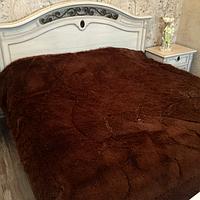 Одеяло покрывало меховое травка утеплённое холлофайбером 210*230 Молочный шоколад