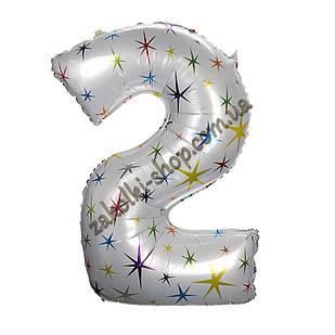 """Фольгированные воздушные шары, цифра """"2"""", размер 40 дюймов/102 см, цвет: белый перламутр с разноцветными звезд"""