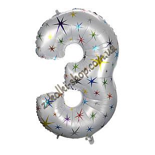 """Фольгированные воздушные шары, цифра """"3"""", размер 40 дюймов/102 см, цвет: белый перламутр с разноцветными звезд"""