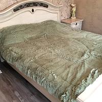 Одеяло покрывало меховое травка утеплённое холлофайбером 210*230 Фисташковый