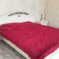 Одеяло покрывало меховое травка утеплённое холлофайбером 210*230 Вишневое