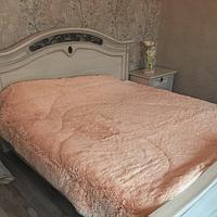 Одеяло покрывало меховое травка утеплённое холлофайбером 210*230 Бежевое