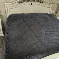 Одеяло покрывало меховое травка утеплённое холлофайбером 210*230 Серый