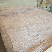 Одеяло покрывало меховое травка утеплённое холлофайбером 210*230 Молочный