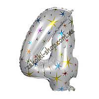 """Фольгированные воздушные шары, цифра """"4"""", размер 40 дюймов/102 см, цвет: белый перламутр с разноцветными звезд"""