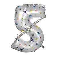 """Фольгированные воздушные шары, цифра """"5"""", размер 40 дюймов/102 см, цвет: белый перламутр с разноцветными звезд"""