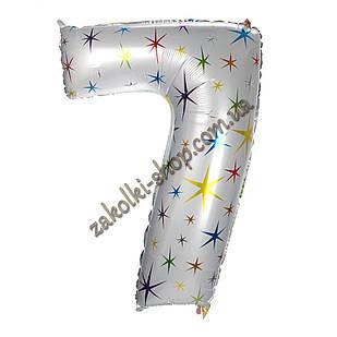 """Фольгированные воздушные шары, цифра """"7"""", размер 40 дюймов/102 см, цвет: белый перламутр с разноцветными звезд"""