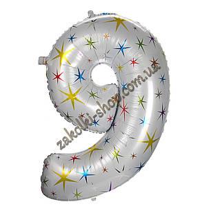 """Фольгированные воздушные шары, цифра """"9"""", размер 40 дюймов/102 см, цвет: белый перламутр с разноцветными звезд"""