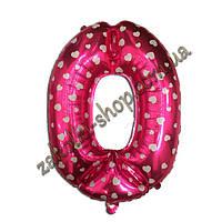 """Фольгированные воздушные шары, цифра """"0"""", размер 40 дюймов/102 см, цвет: розовый металлик с белыми сердечками,"""