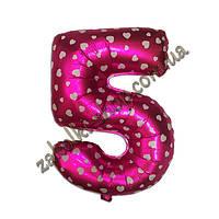 """Фольгированные воздушные шары, цифра """"5"""", размер 40 дюймов/102 см, цвет: розовый металлик с белыми сердечками,"""