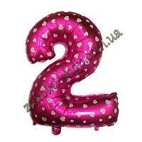 """Фольгированные воздушные шары, цифра """"2"""", размер 40 дюймов/102 см, цвет: розовый металлик с белыми сердечками,"""