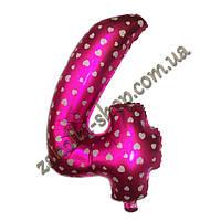 """Фольгированные воздушные шары, цифра """"4"""", размер 40 дюймов/102 см, цвет: розовый металлик с белыми сердечками,"""