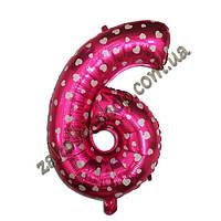 """Фольгированные воздушные шары, цифра """"6"""", размер 40 дюймов/102 см, цвет: розовый металлик с белыми сердечками,"""