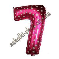 """Фольгированные воздушные шары, цифра """"7"""", размер 40 дюймов/102 см, цвет: розовый металлик с белыми сердечками,"""