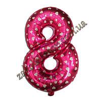 """Фольгированные воздушные шары, цифра """"8"""", размер 40 дюймов/102 см, цвет: розовый металлик с белыми сердечками,"""
