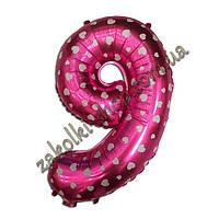 """Фольгированные воздушные шары, цифра """"9"""", размер 40 дюймов/102 см, цвет: розовый металлик с белыми сердечками,"""