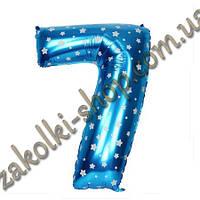 """Фольгированные воздушные шары, цифра """"7"""", размер 40 дюймов/102 см, цвет: голубой металлик с белыми звездочками"""