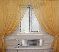 Комплект декоративных штор из шифона, цвет золотистый. 006дк