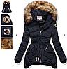 Женский пуховик зимний асимметричный с капюшоном