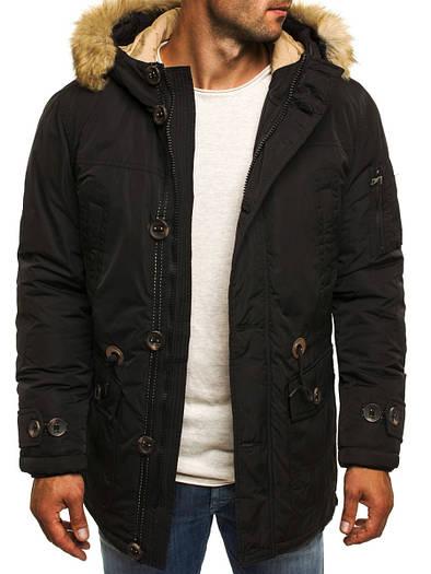 Мужская зимняя парка куртка с капюшоном чёрная -1