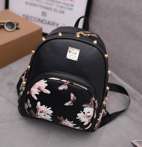 Женский мини рюкзак с цветами черный