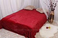 Одеяло покрывало меховое травка утеплённое холлофайбером 210*230 Красное