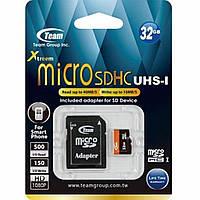 Карта памяти Team 32Gb microSDHC UHS-I (TUSDH32GUHS03);32 Gb, microSD, UHS-I, 40 Мб/сек, 10 Мб/сек, с SD адап