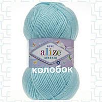 Детская пряжа (акрил)   для ручного вязания ŞEKERİM BEBE (шекерим беби) акрил 128 светло - голубой