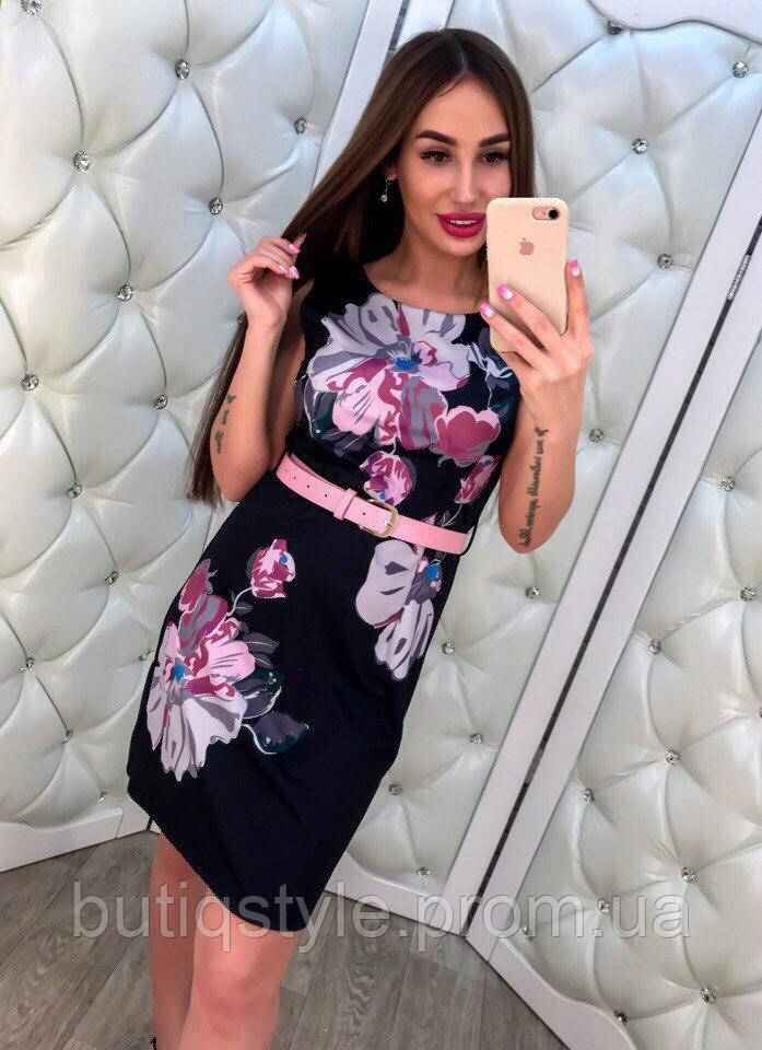 Элегантное короткое платье с принтом цветы тренд 2017 года