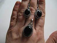 Серьги и кулон с черным агатом от Студии LadyStyle.Biz, фото 1