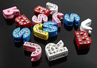 Буквы для наборных браслетов цветные, именной браслет, наборной силиконовый браслет