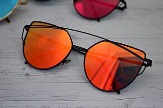Солнцезащитные очки кошачий глаз зеркальные в стиле Диор Красный в черном