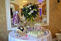 Свадебный Кенди бар в лилово-яблочном цвете  (под ключ) на 30 чел, фото 1
