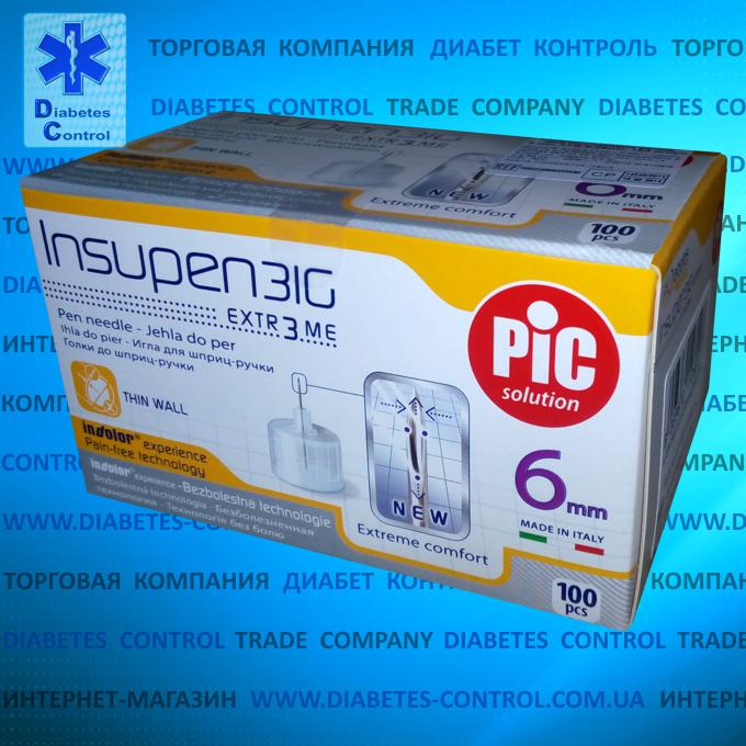 Иглы 6 мм для инсулиновой шприц-ручки INSUPEN / ИНСУПЕН 31G, 100 шт.