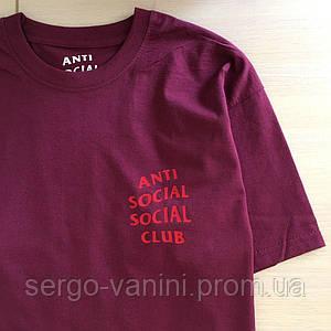 Футболка ASSC бирка Anti Social social club Бордовая