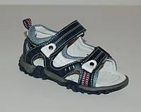 Детские кожаные ортопедические босоножки р.21 стелька 13.5см синие на липучках для мальчиков