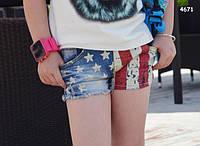 """Джинсовые шорты """"Американский флаг""""  для девочки. 120, 130 см"""