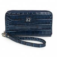 Женский кожаный кошелек Katerina Fox синего цвета из натуральной кожи под крокодил (KF-1159)