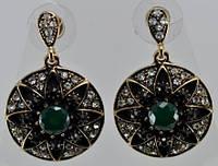 Серьги с камнями СГ3865-2 Серьги длина 3,5см, Ф2,5см