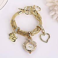 """Оригинальные золотистые часы с подвесками  """"Сердечко 2"""" от студии LadyStyle.Biz"""