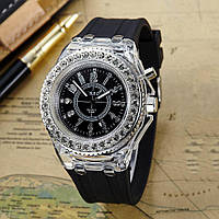 """Серебристые часы на черном ремешке  """"Дипломат"""", фото 1"""