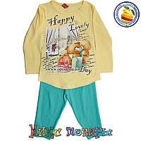 Турецкие детские костюмы Желтая туника и лосины для девочек от 1 до 4 лет (4464-2)